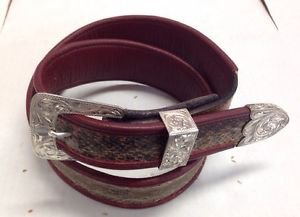 Western Handmade Taper Lined Genu Snake Belt Sz 32 & 3pc Sterling Ranger Buckle