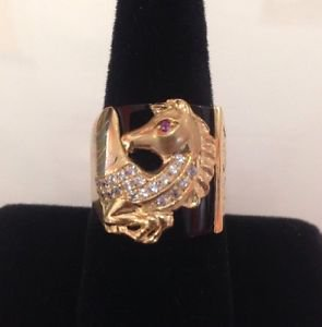 Gorgeous Mens 14K Solid Yellow Gold Flying? Horse Black Onyx & CZ  Ring Size 9.7