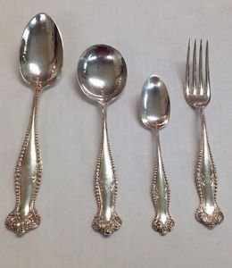 Antique 47pc STERLING Silverware CANTERBURY by Towle Dinner Spoons & Forks 12Set
