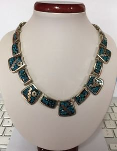 """Handmade Mexico Sterling Silver 925 TC-78 Inlay Mosaic Turquoise 18.5"""" Necklace"""