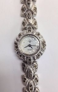 "Vintage 925 Sterling Silver Marcasite Diamond Logo Ladies Quartz 6.5"" Wristwatch"