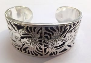 Sterling Silver 925 TAXCO MEXICO TC-24 ACT Aztec Cutout Cuff Designer Bracelet