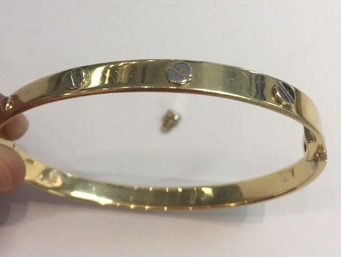 Vintage Designer LOVE Bracelet Inspired 750/18K Solid Y-GOLD w/Screw Luxury Italian