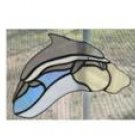 DOLPHIN JUMPING THE WAVES STAINED GLASS SUNCATCHER HANDCRAFTED
