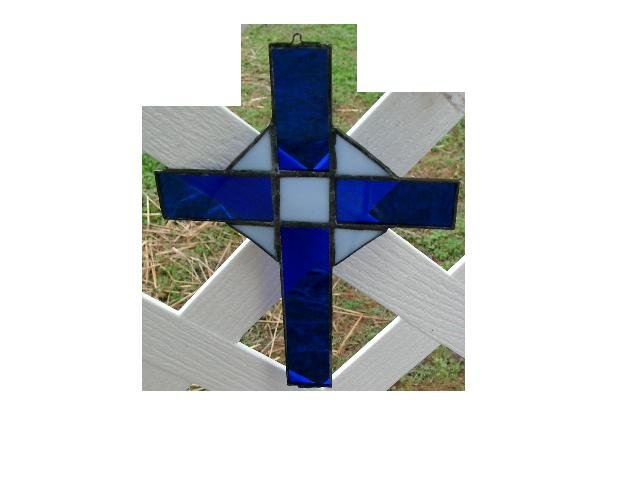BLUE AND WHITE STAINED GLASS CROSS SUNCATCHER HANDCRAFTED