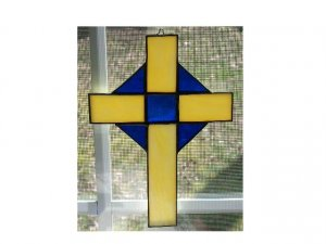 HANDCRAFTED STAINED GLASS BLUE AND YELLOW CROSS SUNCATCHER