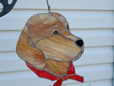 Golden Labrador Retreiver with red collar HANDCRAFTED STAINED GLASS SUNCATCHER