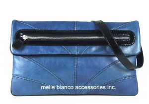Melie Bianco Limited Edition Blue Contrast Clutch Seen In Marie Claire