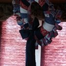 Country wreath w/ blue riboon