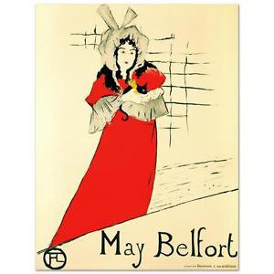 """""""May Belfort"""" Hand Pulled Lithograph Originally by Henri de Toulouse-Lautrec"""
