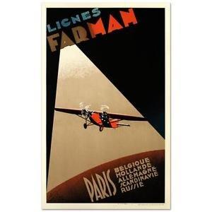 Farman Airlines Paris Hand Pulled Lithograph Poster Albert Solon