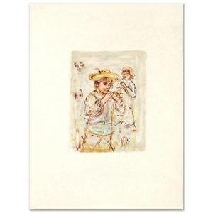 """Edna Hibel (1917-2014)! """"Boy with Horn"""" Limited Edition Lithograph, Signed w/COA"""