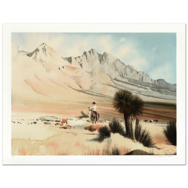"""William Nelson - """"The Dogie"""" Limited Edition Lithograph signed by artist"""
