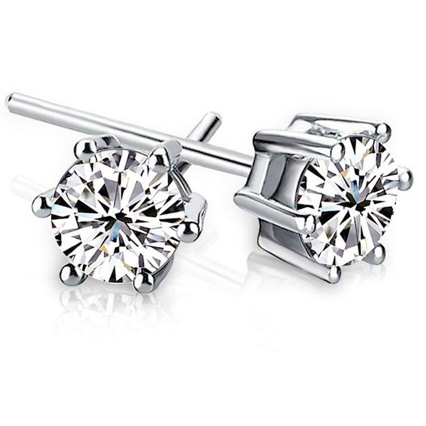 6 Angle Stud Crystal Zirconia Earrings