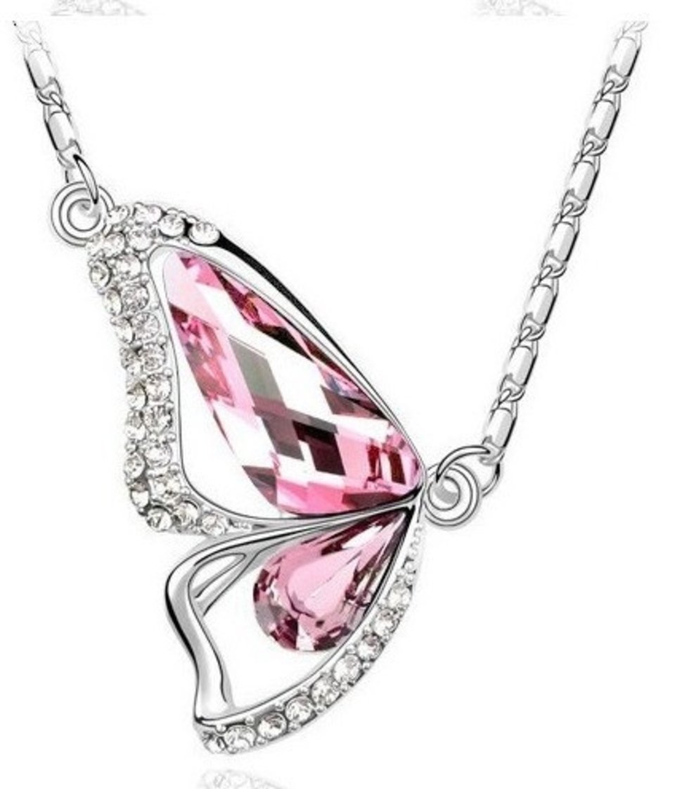 Butterfly Pendant Necklace in Pink