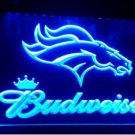 b-144 denver Broncos logo Budweiser LED Neon Light Sign