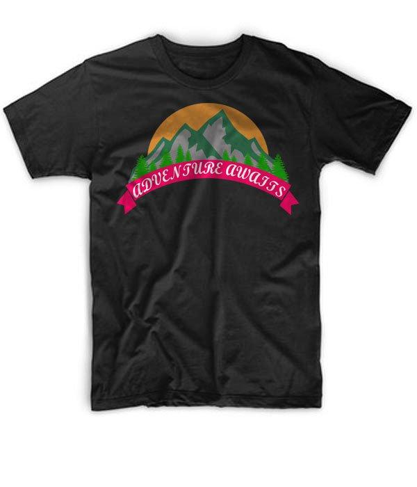 Black Men Tshirt Adventure Awaits - Hiking T Shirt - Mountains Black Tshirt For Men