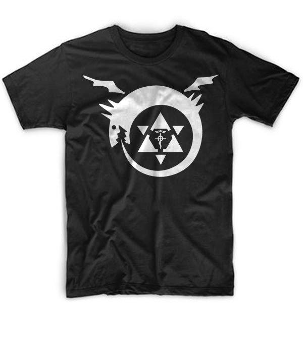 Black Men Tshirt FMA Full Metal Alchemist Elric Brothers Black Tshirt For Men