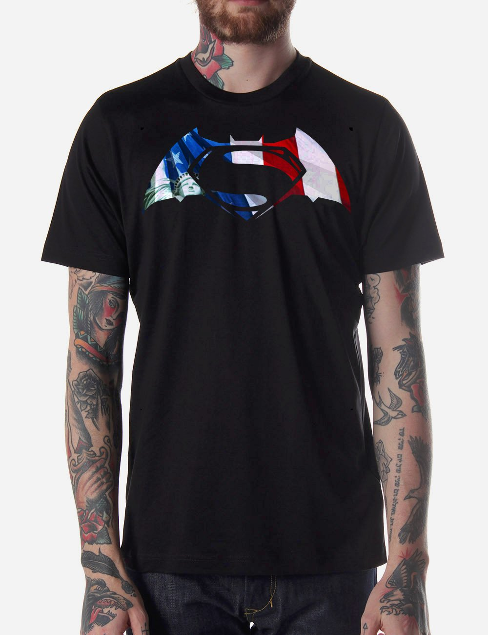 Black Men Tshirt Superman vs Batman America Justice Black Tshirt For Men