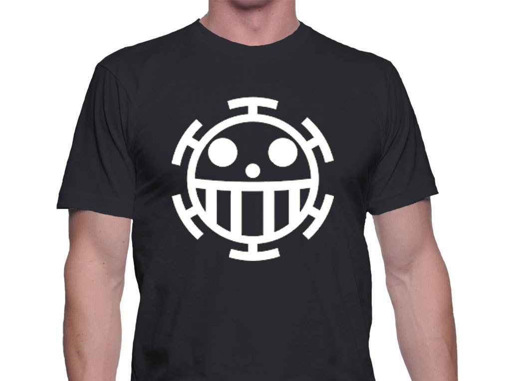 Black Men Tshirt one piece t shirt,men shirt trafalgar Law's Logo Black Tshirt For Men