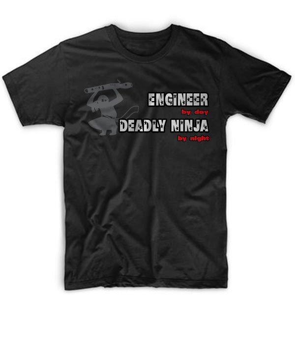 Black Men Tshirt Engineer By Day, Deadly Ninja By Night Black Tshirt For Men