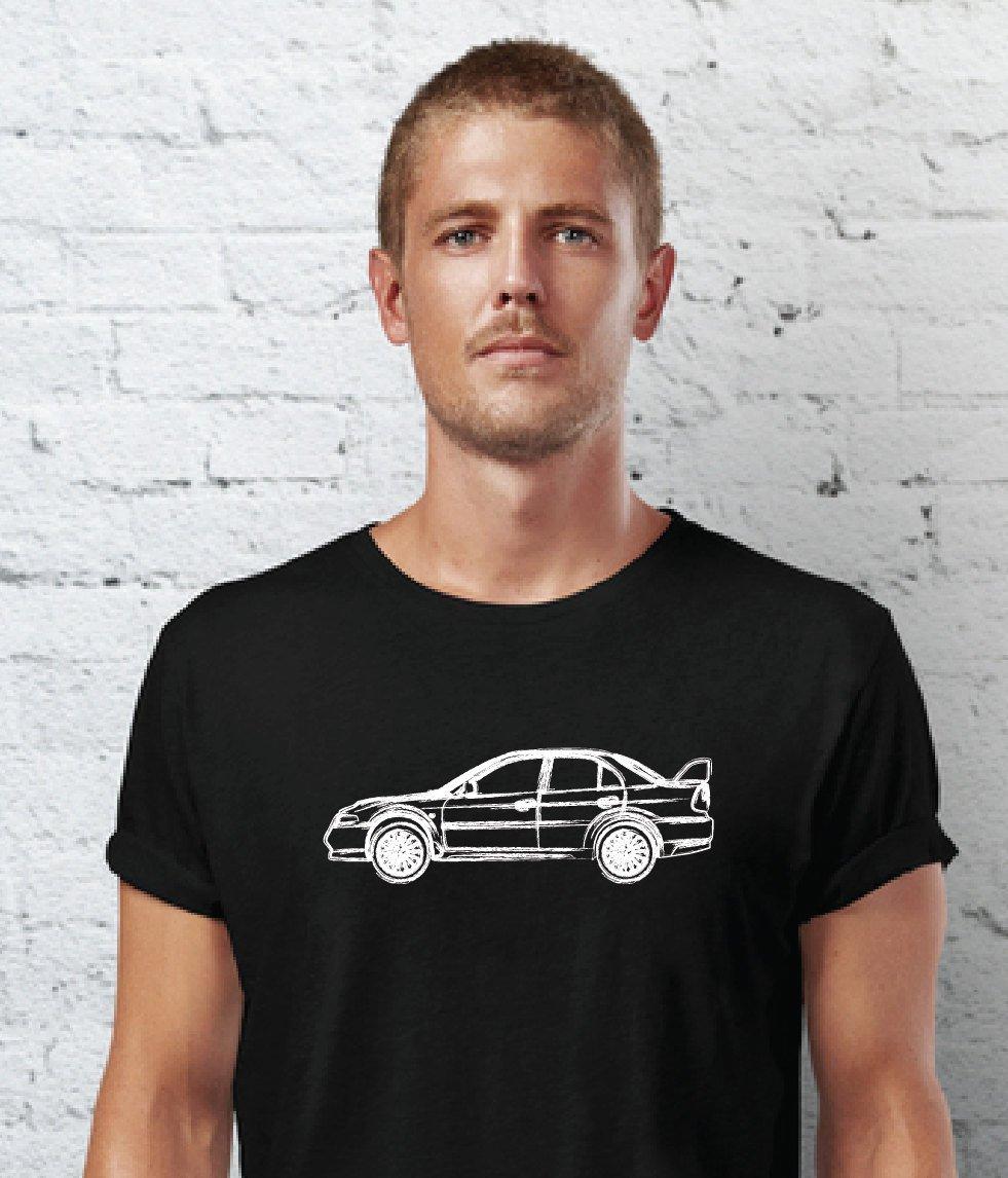 Black Men Tshirt Mitsubishi EVO VII Hand Drawn Car Black Tshirt For Men