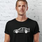 Black Men Tshirt Mitsubishi EVO VII Hand Drawn Car Black Tshirt For Men