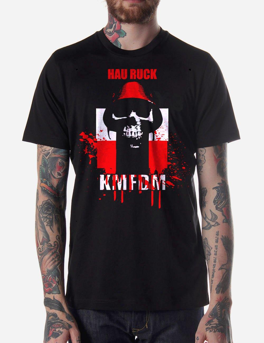 Black Men Tshirt KMFDM MORE HAU RUCK Black Tshirt For Men