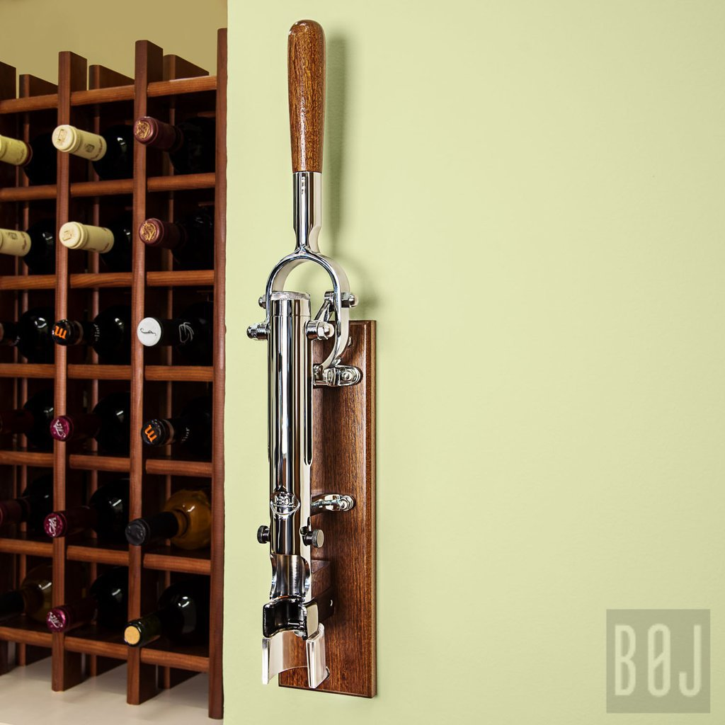 Professional Wall Mounted Corkscrew With Wood Backing Boj Chrome Plated