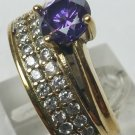 Beautiful! Turkish Style Amethyst/White Topaz 925 Silver Women's Harem Ring Size 8.5