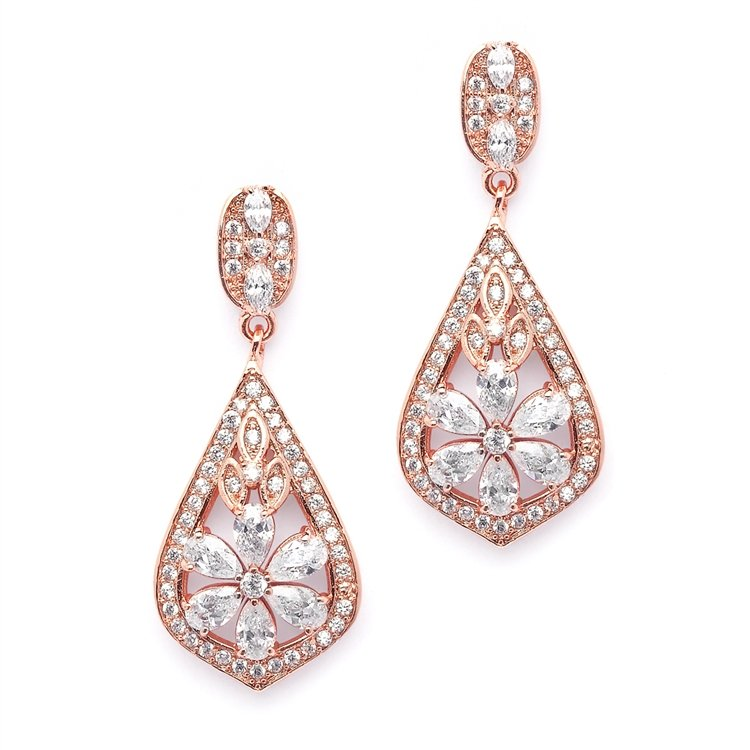 14k Rose Gold CZ Bridal Chandelier Earrings