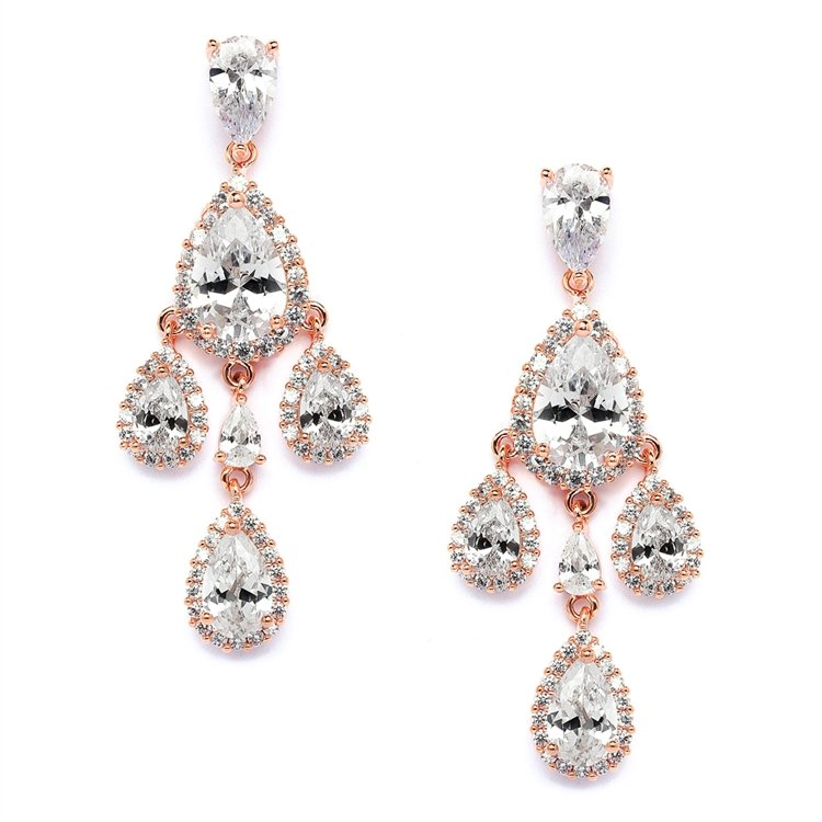 14k Rose Gold Chandelier Earrings