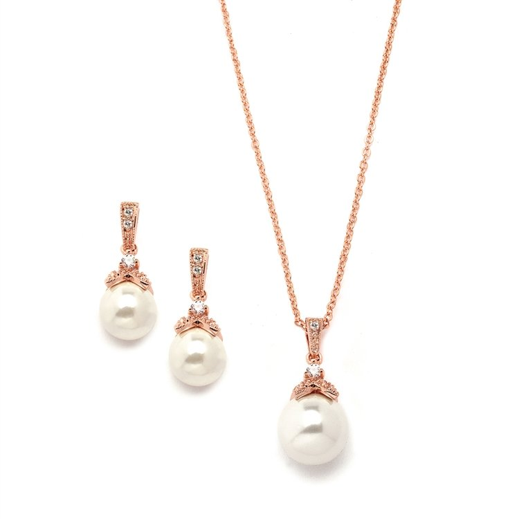 14k Rose Gold Pearl Bridal Jewelry Set
