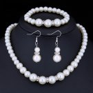 "Wedding Jewelry Set ""Classical Pearls"" (1 necklace + 1 bracelet + 2 earrings)"