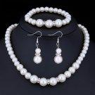 "Wedding Jewelry Set ""Classical Pearls"" (1 necklace + 1 bracelet + 2 earrings)"