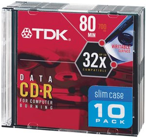TDK CDR80M10 80-MIN/700 MB DATA CD-R IN SLIM JEWEL CASES (10 PK)