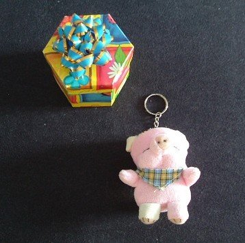 PATCH THE PIG SOFT TOY KEYRING WITH PRESENTATION GIFT BOX