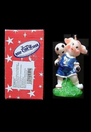 FOOTBALL PLAYING PIG IN LOOK LIKE CHELSEA NUMBER 2 SHIRT