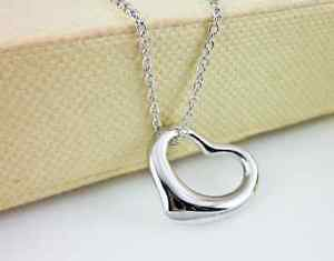 USA Fashion 925 Sterling Silver Chain Heart Shape Women Necklace Heart Pendant