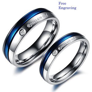 Free Engraving 2 pcs Blue & Silver Titanium Steel Couples Ring Set Promise Ring