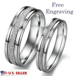 Free Engraving 2 PCS Silver Frosted Couple Ring Set Promise Rings Wedding Rings
