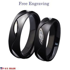 Custom Engraving 2 PCS Black Titanium Steel Couple Promise Wedding Ring Band Set