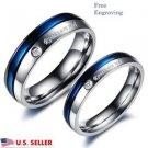 Custom Engraving 2 PCS Blue & Silver Titanium Steel Couple Promise Rings Set
