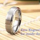 Free Engraving Tungsten Ring Band Men Silver Ring Carbide Beveled Edges Ring