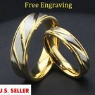 Custom Engraving 2 PCS 18K Gold Titanium Steel Couple Promise Wedding Ring Set
