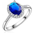 New Platinum White Gold Plated Oval Style Blue Sapphire Wedding Ring For Women