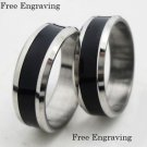 Free Engraving 2 pcs Black & Silver Stainless Steel Promise Couples Ring Ret