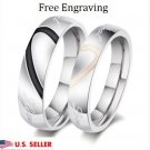 2 PC Custom Engraving Stainless Steel Couple Rings Wedding Promise Love Rings