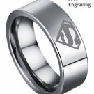 Free Engraving 8MM Superman Symbol Silver Tungsten Personalized Men Ring Band