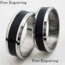 Free engraving 2 pcs black stainless steel couple ring set promise wedding rings